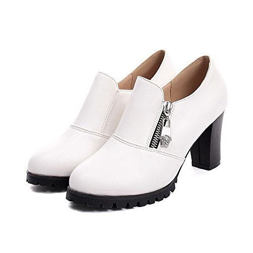 VogueZone009 Damen Hoher Absatz Weiches Material Rein Reißverschluss Rund Zehe Pumps Schuhe Weiß