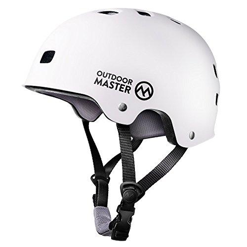 OutdoorMaster Skateboard Helm- Leichter niedriger Profil BMX Helm, Rollhelm Fahrradhelm mit herausnehmbares Futter, Belüftungssystem mit 12 Lüftungsöffnungen - L - Weiß