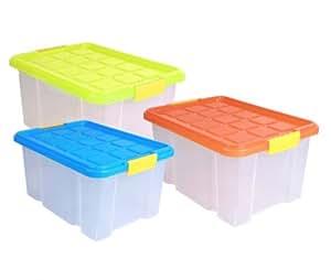 aufbewahrungsbox kunststoffbox mit deckel stapelbox versch farben 40x30x20. Black Bedroom Furniture Sets. Home Design Ideas