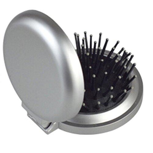 Sylvia qer Tragbarer, faltbarer Massage Kamm mit Spiegel, Mini Haarbürste, rund KOMPAKT Spiegel Outdoor Travel Carry - Spiegel Mini-haarbürste Und
