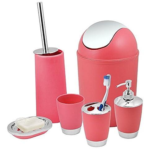 Badezimmer Set 6-teiliges Zubehör Seifenschale, Seifenspender, Zahnputzbecher Pink