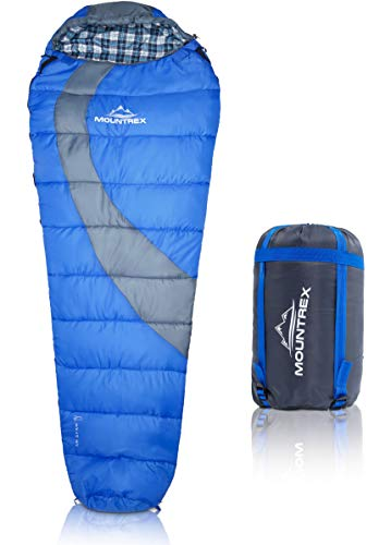 MOUNTREX® Schlafsack für Camping, Wandern und Festival; wasserabweisender, koppelbarer Outdoor Mumienschlafsack; 220x80 cm, blau