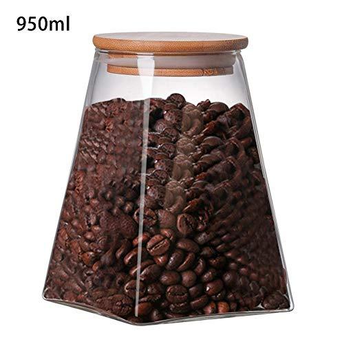 Bitcircuit Set mit 4 Glasbehältern, quadratisch, versiegeltes Glas, für die Küche, Glas, Kaffeebohnen, Milchpulver, Dosen, Getreidebehälter und mehr. D:950ml Glas-cracker