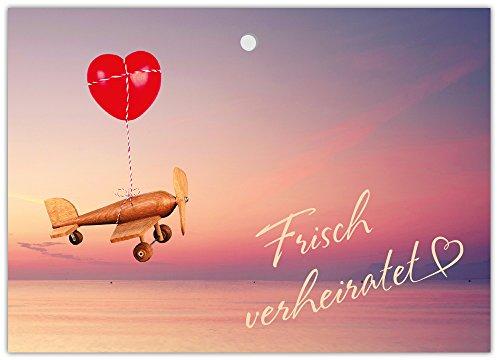 Ballonflugkarten Hochzeit Luftballonkarten für Wünsche an das Brautpaar /schöne extra leichte Ballonkarten Flugzeug mit Herz/ Postkarten für Luftballons und Herzluftballons / 50 Karten
