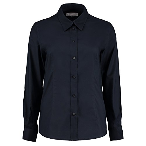 KUSTOM KIT Damen Modern Bluse Gr. 40, French Navy (Dress Wrap Sleeve Silk Chiffon)