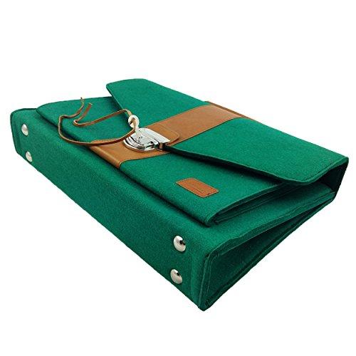 Venetto Businesstasche Umhängetasche Aktentasche Arbeitstasche Handtasche Herren Damen Unisex Filztasche Tasche aus Filz mit Schultergurt mit Echtleder-Applikationen (Schwarz meliert) Grün dunkel
