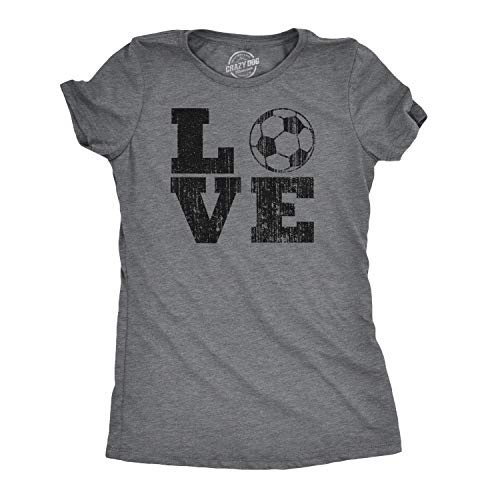 Crazy Dog Tshirts - Womens Love Soccer Tshirt Cute Sports Tee for Ladies (Dark Heather Grey) - XXL - Damen - XXL -