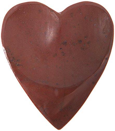 Mediator für Gitarre aus Jaspis rot (Stein) von Madagaskar in Herzform mit Tatzen für Rechtshänder fertigt Hat die Hand