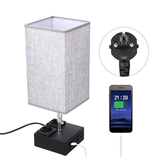 Tischlampe, Nachttischlampe für Schlafzimmer, TOMSHOO Nachtlicht für Schlafzimmer mit 2 USB-Ladeanschlüssen, E27 Base LED Schreibtischlampe für Wohnzimmer, Kinderzimmer, Schlafzimmer, Esszimmer