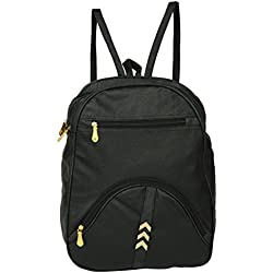 Great Indian Sale Trendy Black Casual Backpack 9 Liters College Office Fashion Bag with Adjustable Straps Daypack