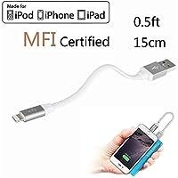 LP 15cm Kurz Lightning Kabel (Apple MFi zertifiziert) Daten Sync und Ladung Ladekabel für iPhone iPad iPod iOS High Lebensdauer Verstärkt Schnelles Laden USB Handy Akku Datenkabel - Grau