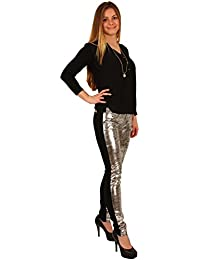 Damen Treggings Hose mit Gummibund und Strech Jeggings Leggings mit Push Up am Po