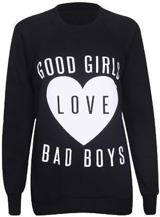Womens Long Raglan Sleeve Love Heart Good Girls Love Bad Boys Print Ladies Round Crew Neckline Stretch Sweatshirt Jumper Sweat Top Black Size 12 - 14