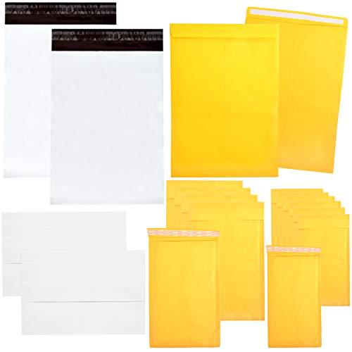 Youngever 115 Stück sortierte Umschläge und Versandtaschen, selbstklebende Umschläge, 9 x 11,5 Katalog-Mailer, 4 x 8 Luftpolsterversands, 6 x 10 Luftpolsterversands, 10 x 13 Poly-Versandtaschen (Umschläge 4x6 Gepolsterte)