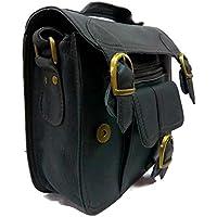 Carbon Black Vintage Leather Handmade Unisex Crossover Shoulder Messenger Briefcase Bag
