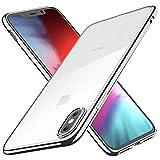 Joyguard Cover per iPhone XS Cover per iPhone X Trasparente Cristallo Silicone Morbido Sottile Flessibile TPU con Paraurti di Effetto Metallico-5.8'-Argento