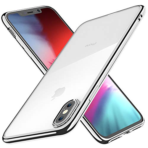 Joyguard iPhone XS Hülle, iPhone X Hülle Durchsichtig Weiche Silikon Plating Überzug TPU Bumper Ultra Slim Kratzfest Schutz für iPhone XS Hülle Transparent - 5.8 Zoll - Silber
