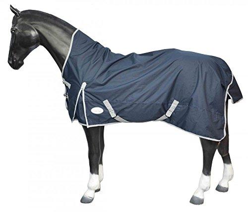 DreamHome Pferdedecke Regendecke Turnout Weidedecke Half Neck Outdoordecke ungefüttert wasserdicht 125 - 155 , Farbe:MARINE;Größe:145 cm