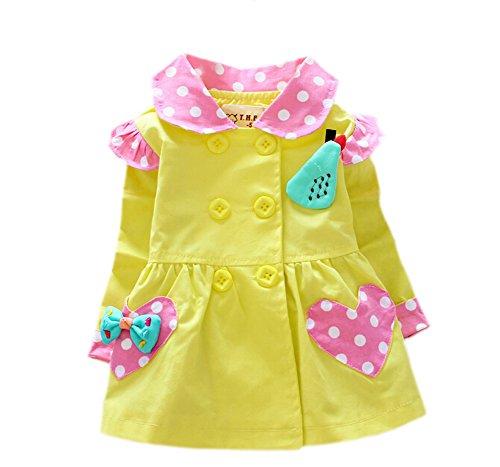 DELEY Kleine Mädchen Polka Dot Frühjahr Double Breasted Trench Jacke Mantel Kleid Outwear Gelb XL