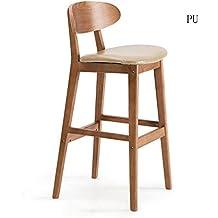 Taburete de la silla, taburete de madera del vintage del asiento de la PU, barra de desayuno de la tabla de la barra contraria de la taburete de la cocina, ayuda de madera sólida, altura de 75 cm, Q