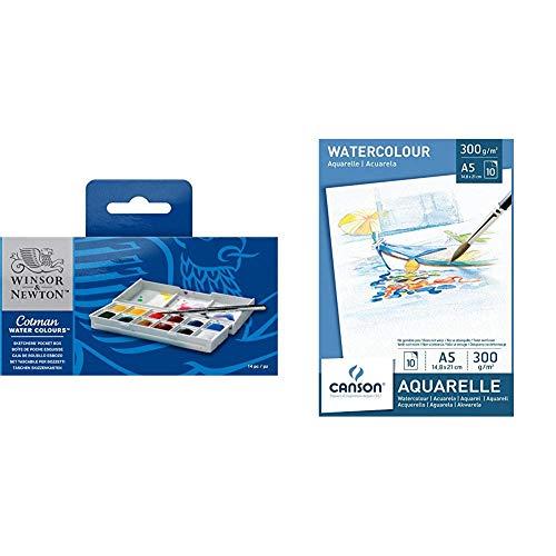 Winsor & Newton acquerelli Cotman Confezione Tascabile Sketchers 12 mezzi Godets & Canson 200005788 - Blocco Disegno Watercolor per Acquerelli, Bianco, (A5,14.8 x 21 cm, 300 gsm), 10 Foglie