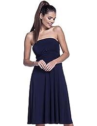 Zeta Ville - Taille empire robe tube soyeux évasée col bandeau - femme - 129z
