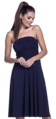 Seidiges Kleid (Zeta Ville - Damen Schlauchkleid Geraffte seidig Kleid Bandeau-Ausschnitt - 129z (Marine, EU 38/40, L))