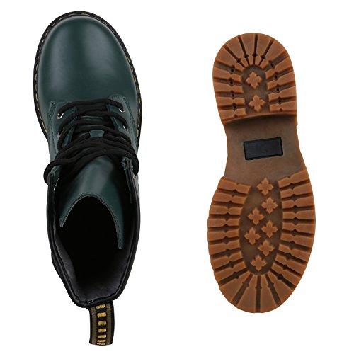 Derbe Damen Stiefeletten | Worker Boots Profilsohle| Camouflage Stiefel | Schnürschuhe Animal Print Dunkelgrün Braun