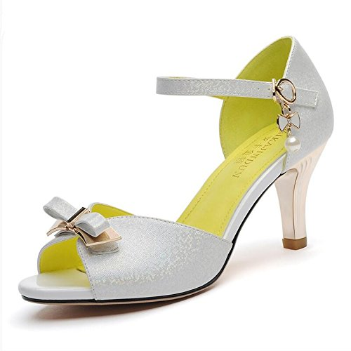 Sommer Damen Mode Sandalen komfortable High Heels, 39 schwarz White