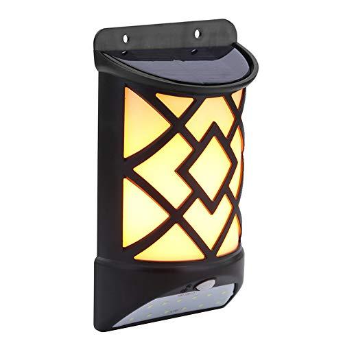 2in1 Solarleuchte 60 LED Flame Light + 12 LED Induktion Licht Tag/Nacht Sensor Wandleuchte Bewegungsmelder Licht Hohe Helligkeit Beleuchtung Zubehör für Haus Garten Dekoration -
