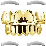 Plaqué Or 24k Grillz pour la Bouche Top Bottom Hip Hop Dents + 2 gouttières de Fixation Coffret de 8 Dents Hip Hop Contenant des Grillz en plaqué Or 24