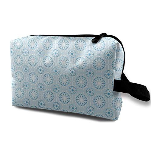 Blauer Mandala_2296 Waschbeutel mit Reißverschluss Urlaubsreiseset Damen Mädchen Schwarz -