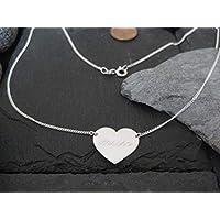 2,1 cm Herz Gravurplatte Halskette in 925er Silber GK95//21 Gravur Namenskette
