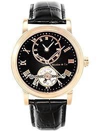 Boudier & Cie B15H12- Reloj analógico de pulsera para hombre (automático), correa de cuero negra