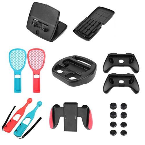 Vkospy 18PCS / Set Ersatz für Nintend Schalter Spiel-Lenkrad Grip Caps Box Tennisschläger Drum Stick-Handgriff-Karte