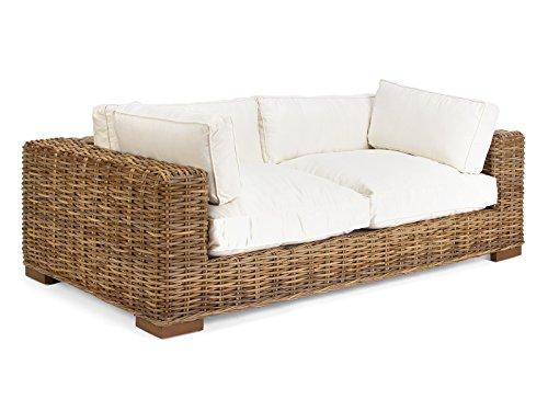massivum 2-Sitzer Sofa Namsos 206x63x110 cm aus Kubu-Rattan grau lackiert mit Kissen