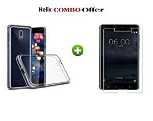 Nokia 8 Tempered Glass + Helix Transparent Back Cover for Nokia 8 ( COMBO PACK By HELIX )