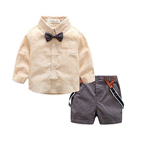 Swallowuk Kinder Junge Kleidung Spielanzug Bodysuit Kleidung Gentleman Lätzchen (90, khaki) (X Herren Bodysuit)