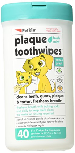 40 Tooth Wipes. Dog Tooth and Gum Cleanser for cleaner teeth and fresh breath.