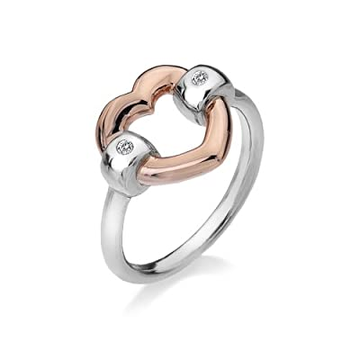 Hot Diamonds Plated Accents with Bonded Heart Ring - Size K