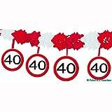 1 Girlande mit Dekoration * 40. GEBURTSTAG * mit Verkehrsschild-Design // Set Banner with Dangling Cutouts Decoration Deko Wimpelkette Jubiläum Vierzig Jahre