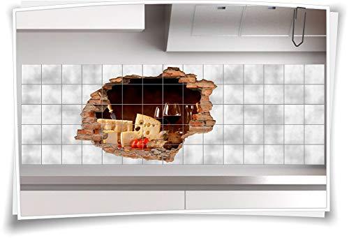Speise-wein (Medianlux Deko Küche Fliesen-Aufkleber Rot-Wein-Glas 3D-Fliesen-Bilder Fliesen-Tattoo Esszimmer Wanddurchbruch Käse Genießen Speisen, 120x80cm, 25x25cm (BxH))