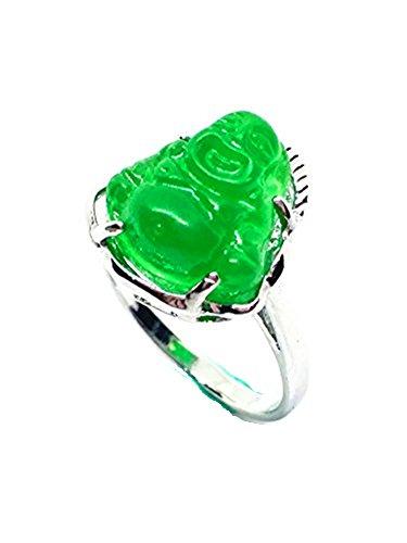 Anillo Buda jade verde acero titanio, mujer