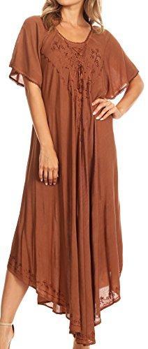 Sakkas 1701 - Lilia gestickter schnüren sich oben Mieder Relaxed Fit Maxi Sun Kleid - Brown - OS (Brown Sandalen Junioren)