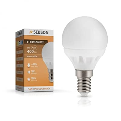 SEBSON® E14 LED Lampe 5W 400lm (Ersetzt 35W) [Warm-Weiß - SMD LED Leuchtmittel -160° Abstrahlwinkel] von SEBSON - Lampenhans.de