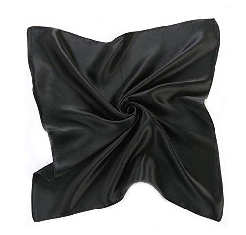 MEISHINE 52 * 52cm Mujer 100% Seda Bufanda Estola Chal Pa?uelo Ideal for Evening Wedding Ceremony (negro)