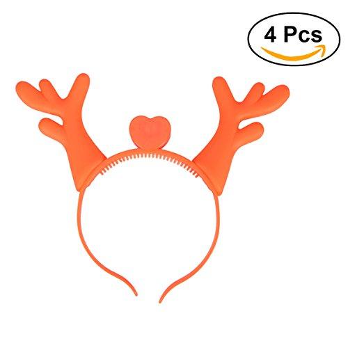 Navidad Diadema OULII intermitente LED cuernos diadema fiesta de Halloween Decoración–Juego de 4(naranja)