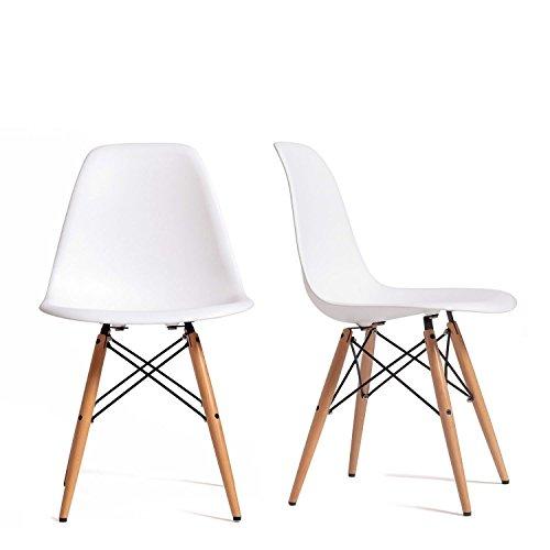 comprare on line Set 4 Sedie mod. DSW bianca in polipropilene e gambe in legno di faggio prezzo