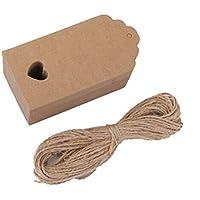 Tinksky Kraft papel tarjeta etiqueta marrón en blanco boda favor regalo etiqueta DIY etiqueta equipaje precio etiqueta con cuerda de 10M, 9 * 4cm, paquete de 100