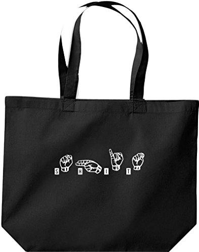 Shirtstown große Einkaufstasche, Zeichensprache SHIT, schwarz